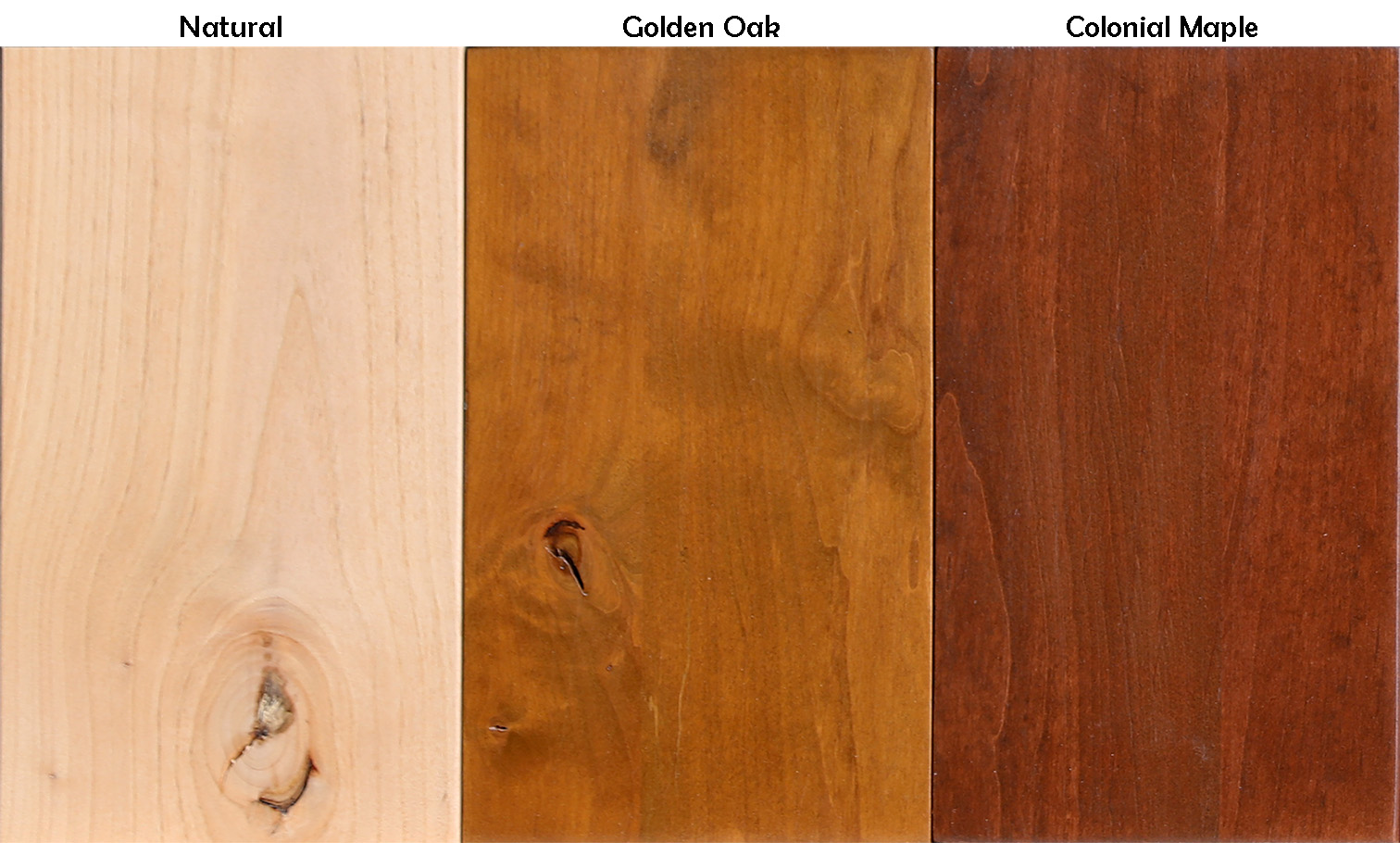 Knotty Alder Stain Samples Light Tones